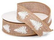 Holiday Burlap Ribbon - 25 Yards - White Tree
