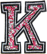 7.6cm (A-Z) Pink Crystal English Letter Character Alphabet Rhinestone Shiny Patch Iron on Embroidered Craft Handmade Baby Kid Girl Women Sexy Lady DIY Accessories Costume (K