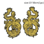 2Pcs/Pair Big Gold Dragon Animal Embroidered Patches Iron on Sew for Clothes Applique DIY Sticker Parches Down Jacket Party