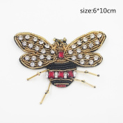DIY Bees Patch(1pc)Rhinestone for Clothing Iron Embroidered Patch Applique Iron on Patches Sewing Accessories Badge Stickers on Clothes Bags(6.1cm Height - 10cm Width)