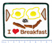 Vintage Style I Love Breakfast Cute Shirt Patch 8.5cm - Badge - Patches - Car - 70's - 80's - Hipster - Funny - Kids - Food