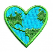 ECOLOGY HEART EMBROIDERED IRON ON APPLIQUE DIY Article of Clothing