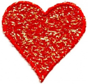 HEART RED CONFETTI/EMBROIDERED EDGE IRON ON APPLIQUE DIY Article of Clothing