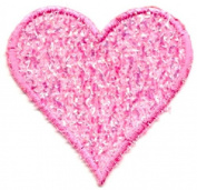 HEART PINK CONFETTI/EMBROIDERED EDGE IRON ON APPLIQUE DIY Article of Clothing