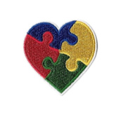 Autism Awareness Heart - April - Embroidered Iron On Applique Patch DIY Article of Clothing
