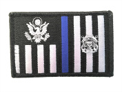 US Coast Guard Tactical Ensign Thin Blue Line Embroidery Patch with Hook/Loop Backing