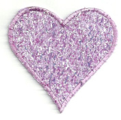 HEART LAVENDER CONFETTI/EMBROIDERED IRON ON APPLIQUE DIY Article of Clothing