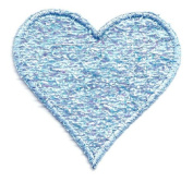 HEART BLUE CONFETTI/EMBROIDERED EDGE IRON ON APPLIQUE DIY Article of Clothing