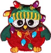 OWL w/CHRISTMAS LIGHTS & CAP/Iron On Embroidered Applique/Cute Critter, Holiday DIY Article of Clothing