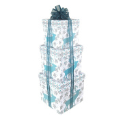Homeford Holiday Snowflake Country Moose Nested Christmas Gift Boxes, 5, 6 and 18cm , 3-Piece
