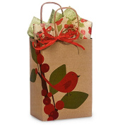 Red Bird Berries Paper Shopping Bags - Rose Size - 14cm . X 8.3cm . X 21cm . - 100 Pieces
