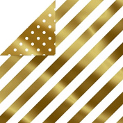 Hallmark Christmas Gift Wrap -Gold Diagonal Stripes and Gold Dots Reversible Roll Wrap
