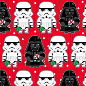 Hallmark Christmas Gift Wrap - Star Wars Stormtroopers and Darth Vader on Red Roll Wrap