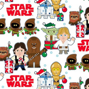 Hallmark Christmas Gift Wrap -Star Wars™ Characters on White Roll Wrap