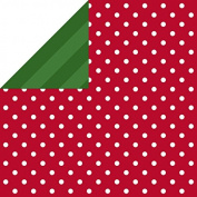 Hallmark Christmas Gift Wrap -Red Dots and Green Diagonal Stripes Reversible Roll Wrap