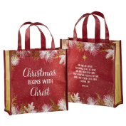 Recycled Nylon Christmas Begins with Christ Laminated Tote Bag, 30cm