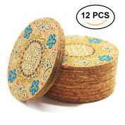 Coasters Set of 12 Colourful Cork Coaster for Drinks - Desktop Protection Prevent Furniture Damage - 10cm Tabletop Drink Coasters