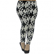 Triangle Black & White Plus Size Leggings Size X-Large