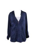 Style & Co Plus Size Blue Printed Half-Zip Hoodie 0X
