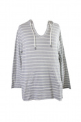 Style & Co Plus Size Grey Striped Hoodie 3X