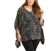 French Laundry Women's Plus V-Neck Poncho With Button Tab