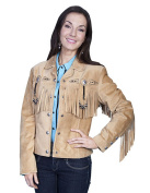 Scully Western Jacket Womens Leather Beaded Fringe Fitted L152