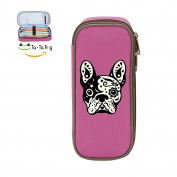 Mybox Pug Skull Cube Pen Case Pencil Box Soft Canvas Student Stationery Office Storage