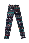 Planet Gold Juniors Navy Printed Holiday Leggings S