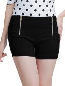 Unique Bargains Juniors Double Zip Closed Front High Waist Short Pants