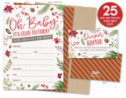 Baby It's Cold Outside Winter Baby Shower Invitations and Nappy Raffle Tickets with Winter Florals. Set of 25 Fill In Style Cards, Kraft Envelopes, Raffle Tickets