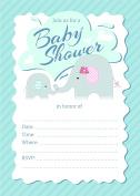 Elephant Boy 5x7 Baby Shower Invitations - 24 Invites and 24 White Envelopes