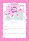 Elephant Girl 5x7 Baby Shower Invitations - 24 Invites and 24 White Envelopes