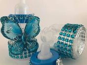 10 Turquoise Fillable Butterfly Bottles Baby Shower Favours Prizes Girl Boy Decorations