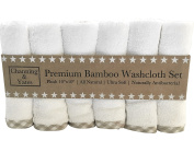 Premium Baby Washcloths ULTRA SOFT (6 Pack) | Organic Natural White Bamboo Washcloths for Baby or Adults - 2X Thick & Soft | 25cm x 25cm Wash Cloths | Great for Eczema & Sensitive Skin