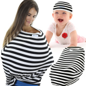 Large Multi Use Nursing Cover Carseat Canopy W/ Baby Beanie For Boys & Girls