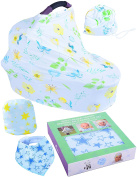 Baby Nursing Cover | CarSeat Canopy for Boys & Girls by Inlandix | Multi Purpose Stretchy Breastfeeding Cover + Bandana Bib for Drooling & Teething + Summer Baby Beanie Cap