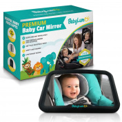 Premium Baby Car Mirror - Certified Safe, Shatterproof Tested View Mirror For Rear Seat When Travel, Large 42cm x 19cm , With Bonus Baby On Board Sign + Kick-Mat Organiser + Sun Shades