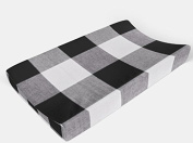 Changing pad cover in Black Buffalo Plaid by AllTot Large Black Buffalo Plaid Cheque Handmade in The USA