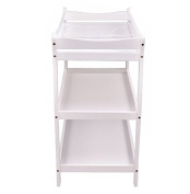 K & A Company Sleigh Style Baby Changing Table Infant Newborn Nursery Nappy Station Pad Furniture in White