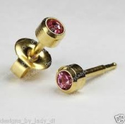 NEW 24ct. Gold Plate Personal Piercer Rose October Bezel 3mm Ear Piercing Earrings Studex System 75