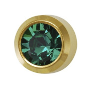 NEW 24ct. Gold Plate Personal Piercer Emerald May Bezel 3mm Ear Piercing Earrings Studex System 75
