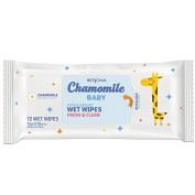 Biosoma Chamomile Baby Wet Wipes. 72 count. Hypoallergenic. Alcohol Free, Cruelty Free, Natural Chamomile Extract. Made in the USA