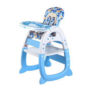 Evezo 2-in-1 High Chair Desk, Light Blue