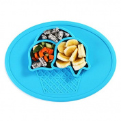 Silicone Baby Placemat + Plate with FREE Spoon and Fork , 2017 Non-slip Safe Dining Mat Ice Cream Shape, Reusable Lightweight Portable Travel, FDA Approved Microwave and Dishwasher Safe by Holac co.