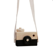 Black Mini Wooden Camera Toy Hanging on Neck Anti-Static and Natural Wood for Kids Baby Toddler Room Decoration US-SPT-014
