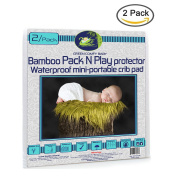 Pack N Play Protector ORGANIC BAMBOO by Green Comfy Baby WATERPROOF 3 layers fitted sheet crib pad cover +15cm deep. NO HARMFUL CHEMICAL, HYPOALLERGENIC, BLOCK DUST MITE