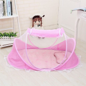 Baby Travel Bed Portable Travel Crib, Pink - Pop-Up Beach Tent Protect from Sun & Bugs