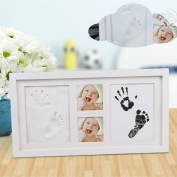 Baby Handprint & Footprint Photo Frame Kit For Nursery Décor , PVC Hand Footprint Makers For Boys & Girls , Non Toxic Clay Forever Registry Memory Photo Folder For Keepsake Decoration Wall And Desk