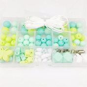 Baby Love Home Baby Teether Green Series Chewable Silicone Beads Set Luxury Jewellery Kit BPA Free DIY Crafts Organic Waldorf Sensory Toy Beads Set