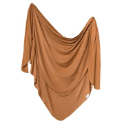 "Large Premium Knit Baby Swaddle Receiving Blanket ""Camel"" by Copper Pearl"